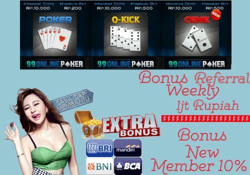 Judi Poker Online Minimal Deposit 50 Rb & Bonus Terbaru 2016